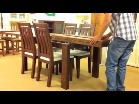 Mesa extensible de madera maciza los pinos muebles las for Mesas de comedor extensibles de madera