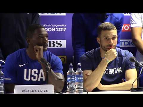 Great Britain 4x100 Gold Press Conference with Justin Gatlin Talking About Usain Bolt