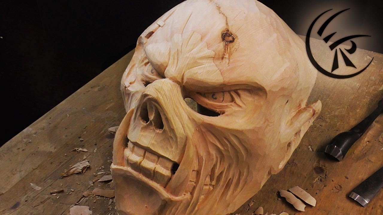 Woodcarving Krampus Mask Timelapse