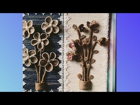 Two Unique wall Decor Ideas using Jute Rope, Jute Cloth, Cardboard, Pearls / Golden Fiber Crafts