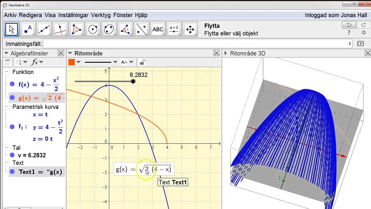 Rotationsvolym runt y-axeln i GeoGebra