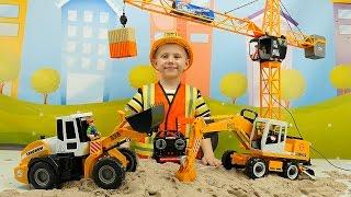Рабочие Машинки для детей: Погрузчик Экскаватор и Кран. Строительные машины для ребёнка