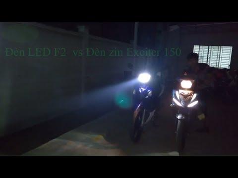 Test- So sánh ánh sáng đèn zin Exciter 150 (Halogen HS1 35W) vs Đèn LED F2 H4 36W trên chóa Axelo