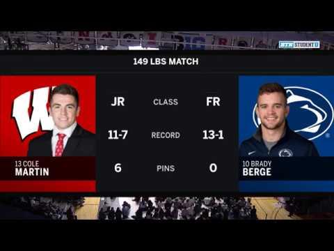 149 LBS: Cole Martin (Wisconsin) vs. #10 Brady Berge (Penn State)