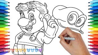 How to Draw Mario, Super Mario Odyssey | Drawing Coloring Pages for Kids