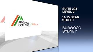 Tvc for advance college of health ,suite 203 ,11-15 dean street ,burwood ,nsw, sydney, australia