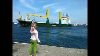Girl honks at ship thumbnail