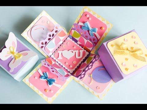 How to Make - Exploding Box Birthday - Step by Step | Eksplodujące Pudełko Urodziny Walentynki