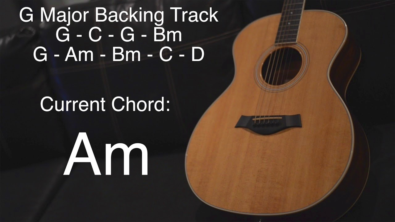 G Major Guitar Backing Track Shows Current Chord On Screen Youtube