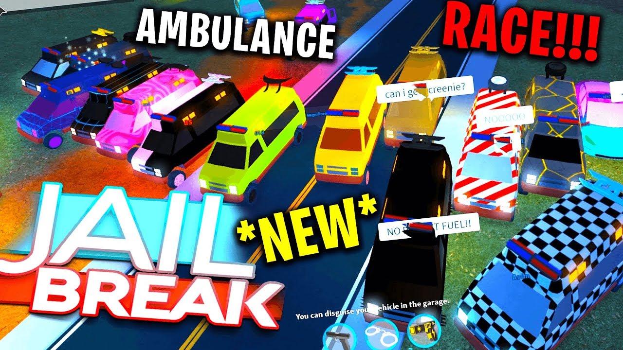 Massive New Ambulance Race In Roblox Jailbreak Youtube