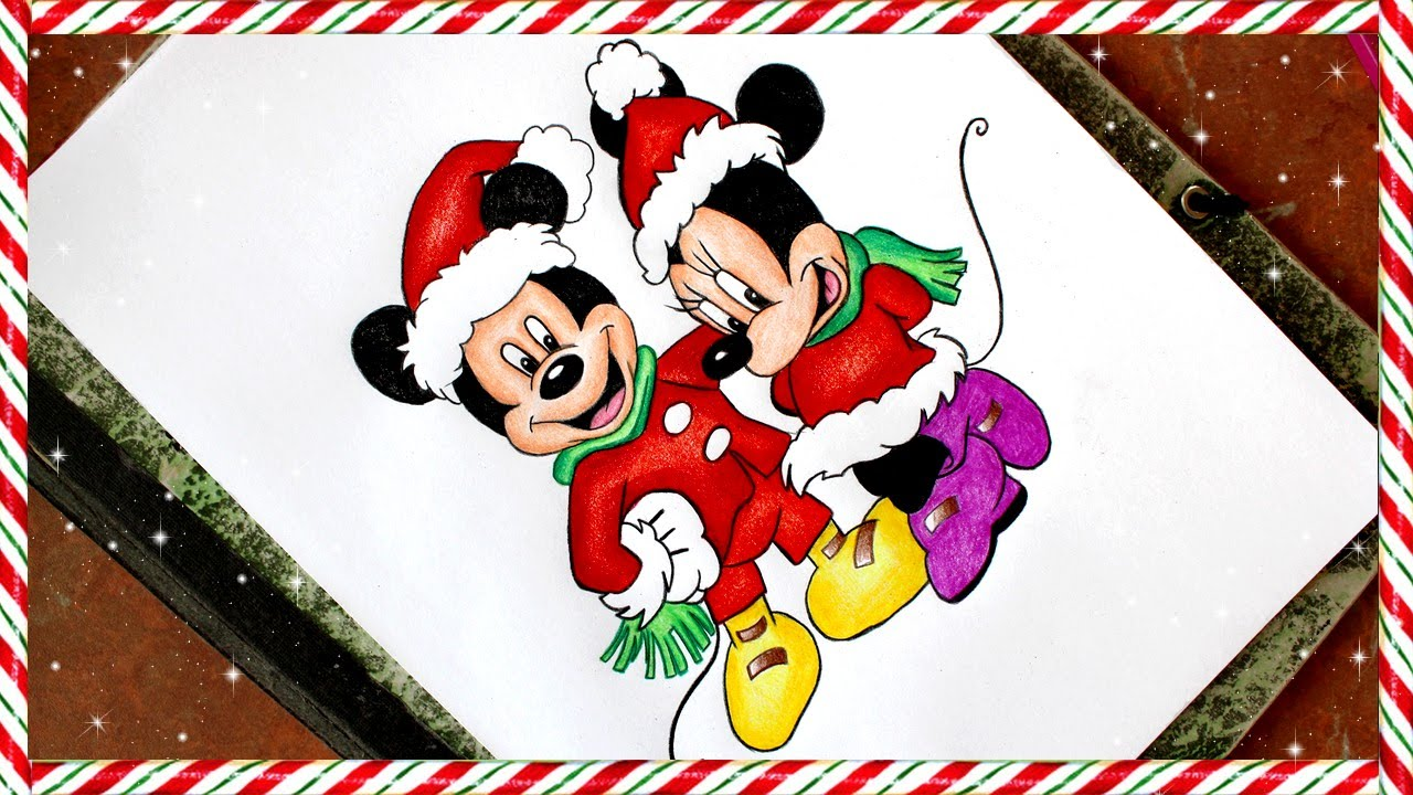 Mickey and Minnie Mouse Christmas Drawing - YouTube