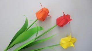 Tulpen aus Papier falten. Einfach und schön. Origami