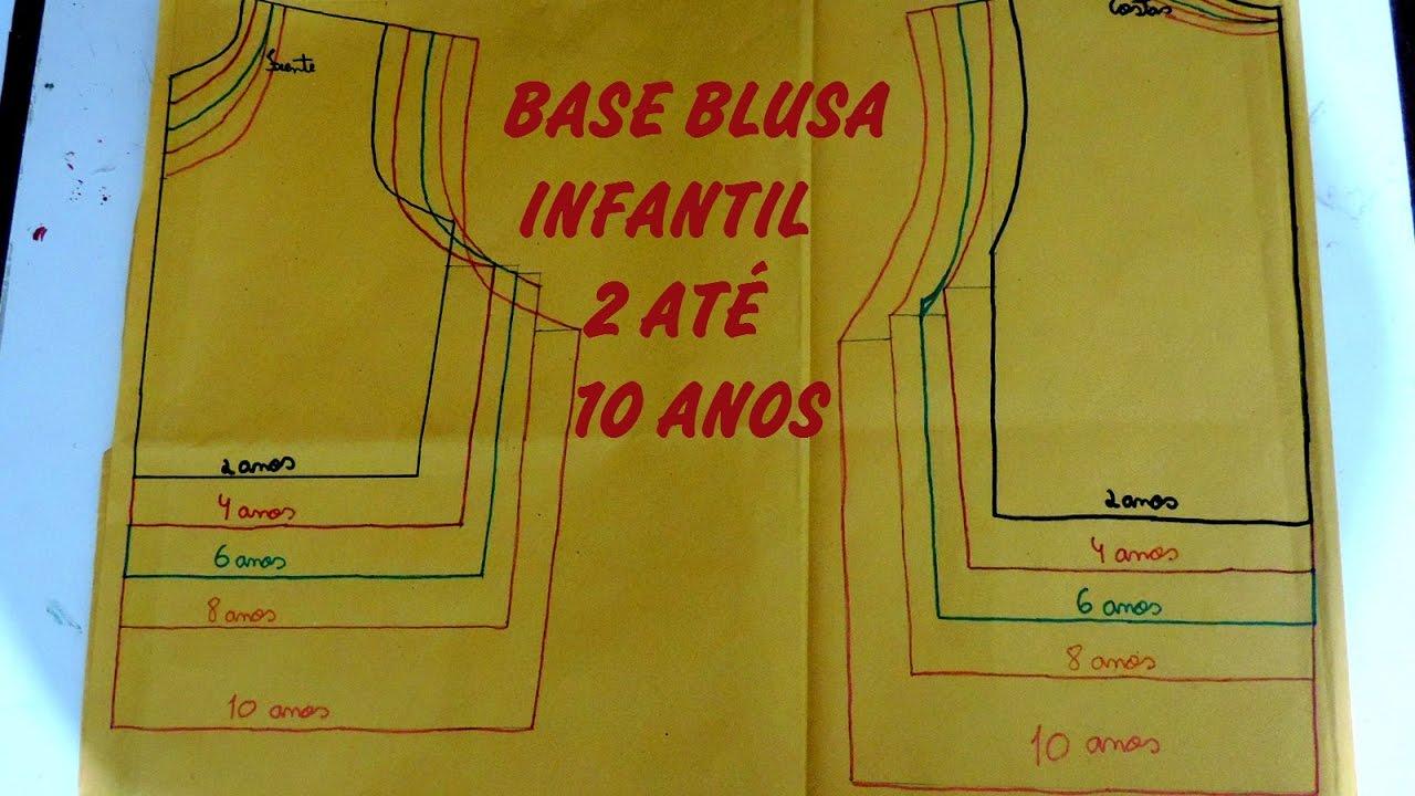 1c9ecac51e0c57 Moldes - Base blusa infantil (Graduação de 2 até 10 anos) - Modelagem