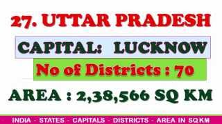 INDIA| STATES-CAPITALS-DISTRICTS AND AREA IN SQUARE KILOMETERS