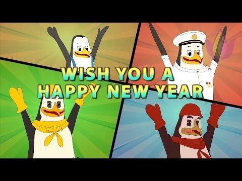 Happy New year 2017 CELEBRATION of Funny Artos penguins.