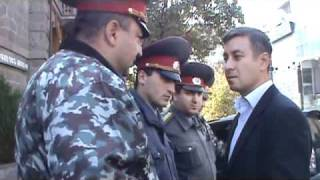 Armenian opposition representative talks with police