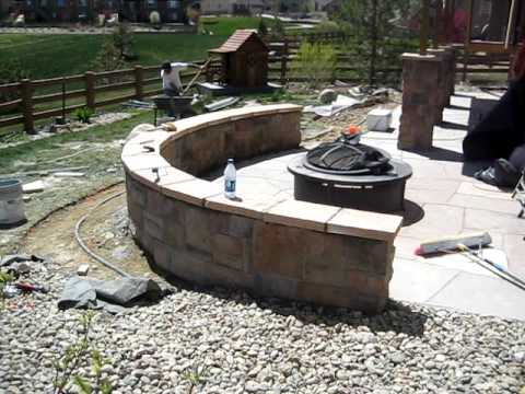 Installing Stone Seating Wall And Flagstone Patio Youtube