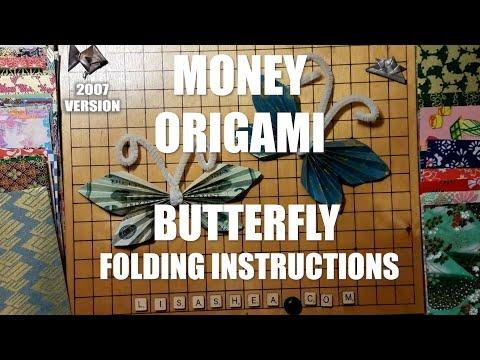 Origami Dollar bill Butterfly tutorial (Michael LaFosse) 折り紙 蝶 ...   360x480