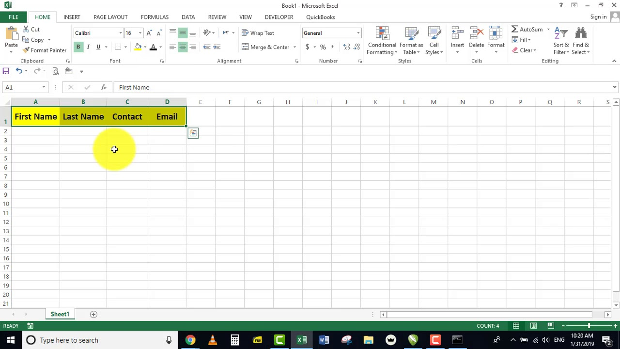 Step 1: How Creating Contacts sheet in excel | Import Contacts Excel to  Android