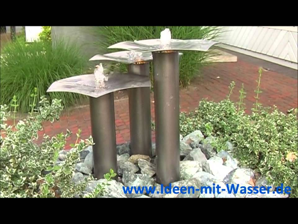 gartenbrunnen edelstahl springbrunnen wasserspiel qi fountain garten design youtube. Black Bedroom Furniture Sets. Home Design Ideas
