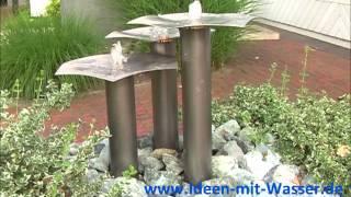 Gartenbrunnen-Slink.de Edelstahl-Springbrunnen Wasserspiel Qi-Fountain Garten Design