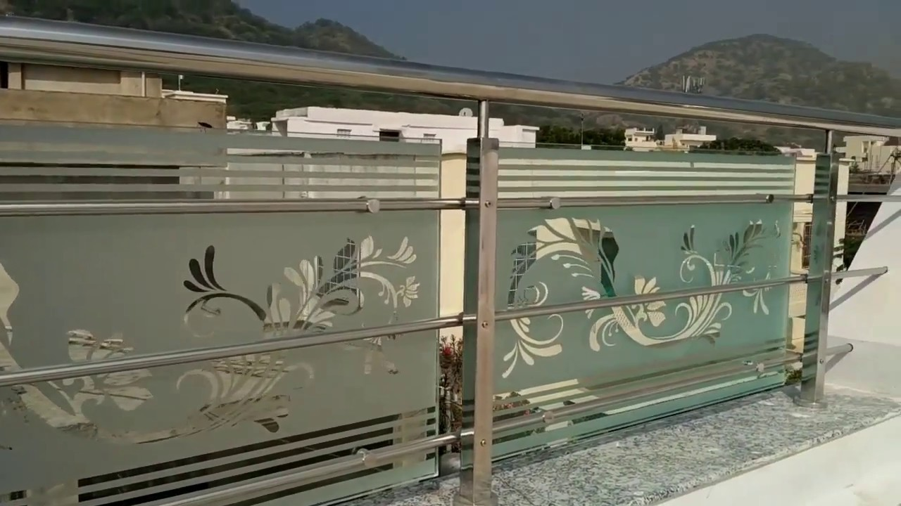 Stainless steel railing with glass hindi urdu india hd