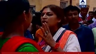 Howrah: BJP's Rupa Ganguly caught in scuffle with TMC workers outside polling booth