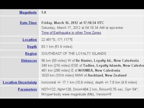 MAR 16 2012 5 0 EARTHQUAKE SOUTHEAST OF LOYALTY ISLANDS