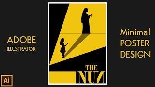 minimal movie poster design in illustrator | Silhouette Vector illustration | The Nun Minimal Poster