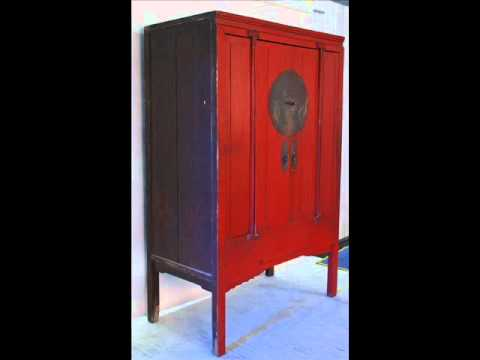 Antique Chinese Red Lacquered Wedding Cabinet _cs1012.wmv - Antique Chinese Red Lacquered Wedding Cabinet _cs1012.wmv - YouTube