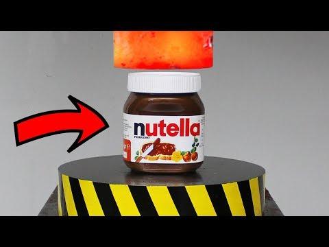EXPERIMENT Glowing 1000 degree HYDRAULIC PRESS 100 TON vs Nutella