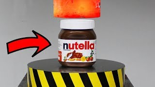 EXPERIMENT Glowing 1000 degree HYDRAULIC PRESS 100 TON vs Nutella