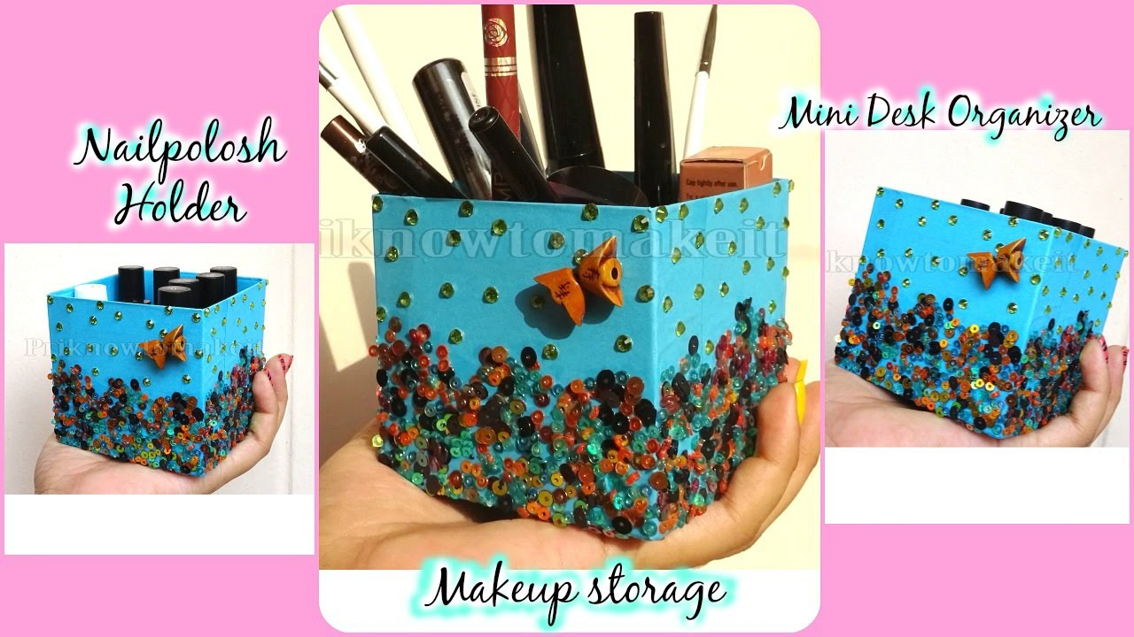 Diy makeup storage brush holder mini desk organizer for Mini makeup desk