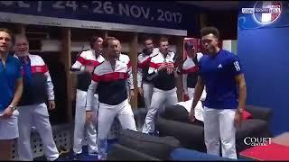 Haka de l'équipe de France de tennis après la victoire en Coupe Davis