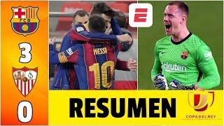 Barcelona 3-0 Sevilla ¡ÉPICA REMONTADA! Piqué, Ter Stegen, héroes del Barça finalista | Copa del Rey