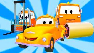 Tom la Grúa con la Apisonadora y la Carretilla Elevadora en Auto City | dibujo animado para niños