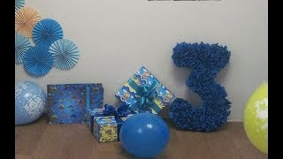 как сделать цифру 3 на день рождения из картона