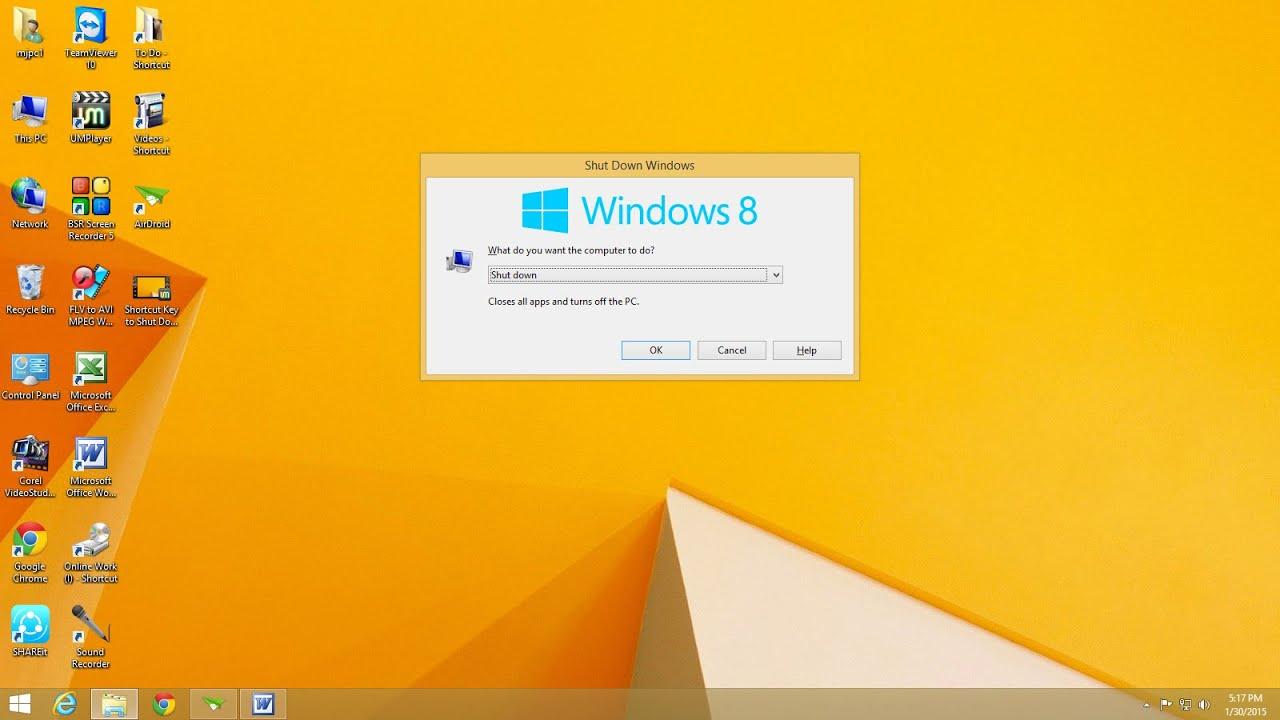shortcut key for shutdown windows 10
