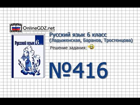 Задание № 416 — Русский язык 6 класс (Ладыженская, Баранов, Тростенцова)