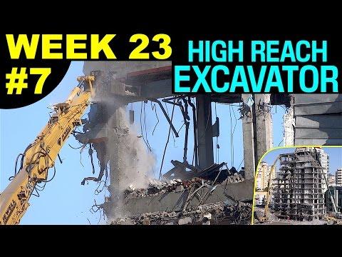 High reach demolition excavator dismantling high-rise top floors, 2-cam sequences (Week 23, set 7)
