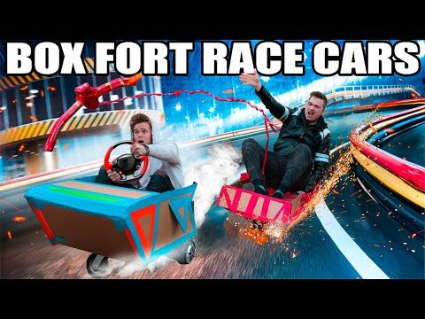 BOX FORT RACE CARS RACE!!  Power Ups, Gadgets & More!