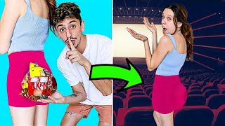 10 WEIRD Ways to Sneak Snacks into the Movies! (LIFE HACKS)