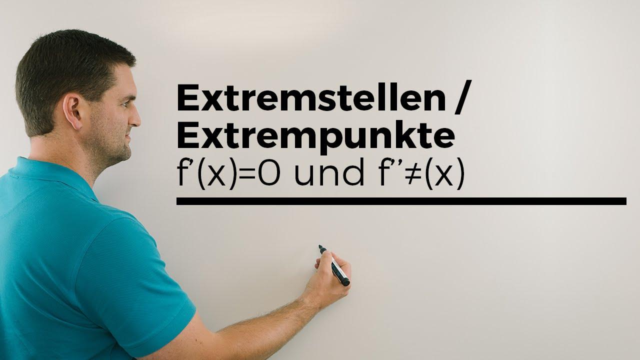 Extremstellen/Extrempunkte Teil 1, 1.Ableitung=0 und f´´(x) ungleich ...
