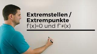 Extremstellen/Extrempunkte Teil 1, 1.Ableitung=0 und f´´(x) ungleich 0 | Mathe by Daniel Jung