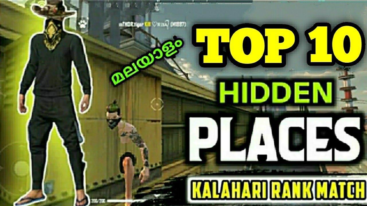 FREE FIRE KALAHARI TOP 10 HIDDEN PLACE മലയാളം  KALAHARI RANK PUSHING TOP HIDDEN PLACE MALAYALAM