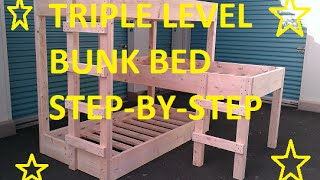 Triple level bunk beds, DIY. I found some plans on from some different sites, but I ended up just changing the plans. I think it