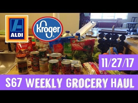 GIANT Weekly Grocery Haul 11/27/17 | $67 at Aldi and Kroger!
