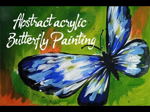 Abstract acrylic painting for beginners of beautiful Butterfly step by step