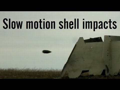 Artillery shell impacts in slow motion