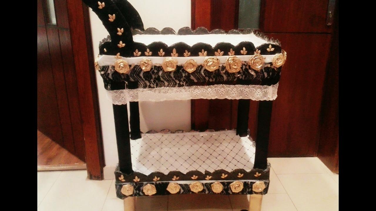 DIY craft how to make cardboard furnituretrolley Muebles de